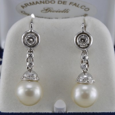 DELIGHTFUL DIAMOND & PEARL VINTAGE SWING DROP EARRINGS 1950 CA!