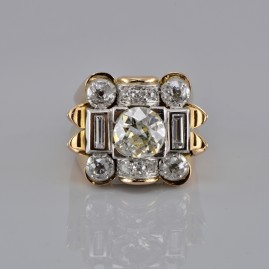 SPECTACULAR GENUINE ART DECO 3.20 CT DIAMOND 2.0 CT LARGE SOLITAIRE RARE RING!