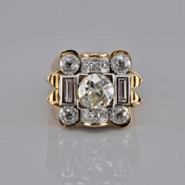 SPECTACULAR GENUINE ART DECO 3.20 CT DIAMOND 2.0 CT LARGE SOLITAIRE RARE RING!