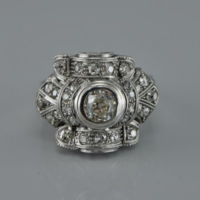 GENUINE ART DECO ALL PLATINUM 1.75 CT DIAMOND COCKTAIL RING 1920 CA!