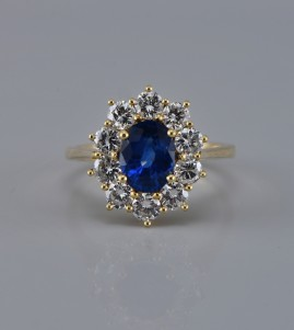 SPECTACULAR 1.70 CT NO HEAT NATURAL CEYLON SAPPHIRE 1.50 CT DIAMOND VINTAGE RING!