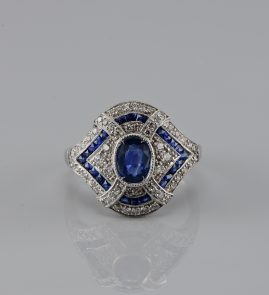 SPECTACULAR PLATINUM ART DECO NATURAL SAPPHIRE & DIAMOND RARE RING!