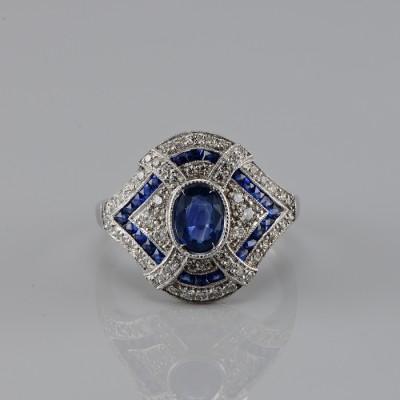 SPECTACULAR PLATINUM ART DECO NATURAL SAPPHIRE & DIAMOND RARE RING!