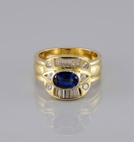 EXCLUSIVE 1.30 CT ROYAL BLUE SAPPHIRE & 1.10 CT TOP GRADE DIAMONDS ONE OFF RING!