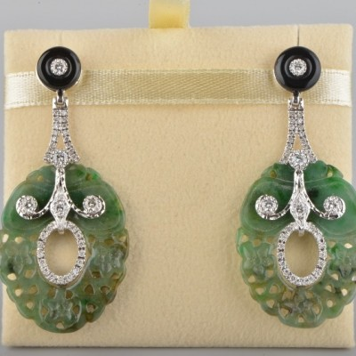 CHARMINGFUL NATURAL JADE DIAMOND & ONYX VINTAGE PANEL DROP EARRINGS -1970!