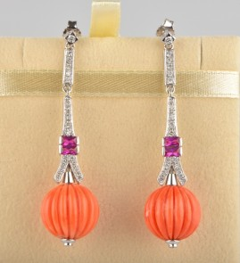 DELIGHTFUL SALMON CARVED CORAL DIAMOND RUBY VINTAGE LONG EARRINGS -WOW!