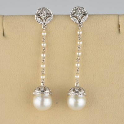 CHARMING PEARL & DIAMOND LONG DROP SWINGING EARRINGS VINTAGE!