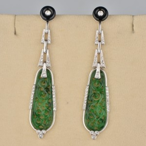 MAGNIFICENT PAIR OF SPINACH GREEN JADE & DIAMOND LONG DROP VINTAGE EARRINGS!