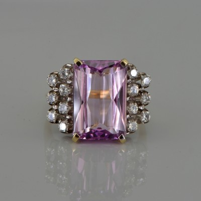 SPECTACULAR LARGE NATURAL KUNZITE & DIAMOND VINTAGE RING!