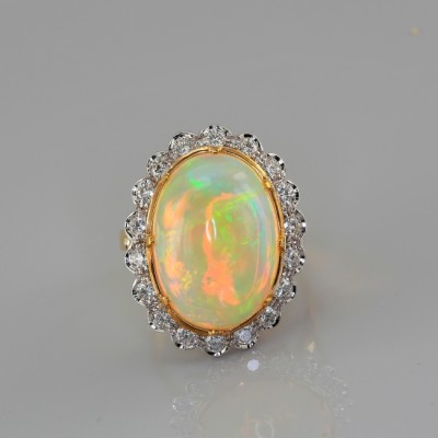 SPECTACULAR LARGE 10.0 Ct HARLEQUIN OPAL & DIAMOND ONE OFF VINTAGE RING!
