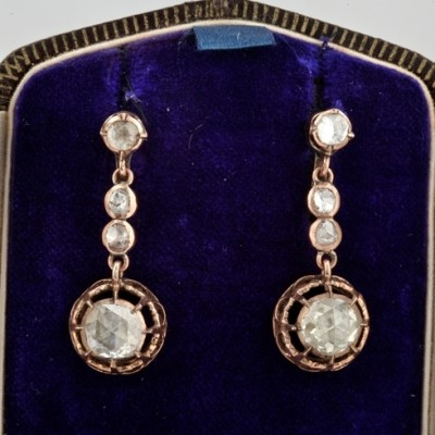 SPECTACULAR GEORGIAN 3.90 CT ANTIQUE DUTCH ROSE CUT DIAMOND DROP EARRINGS!
