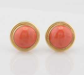 SPECTACULAR WIDE NATURAL SALMON RED CORAL BUTTON 18 KT CHIC EARRINGS!