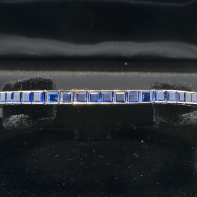 SUPER ALL PLATINUM 20.0 CT ROYAL BLUE SAPPHIRE VINTAGE TENNIS BRACELET WOW!