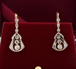 ART NOUVEAU EXQUISITE DIAMOND DROP EARRING 1.0 FULL CARAT DIAMOND 1900!