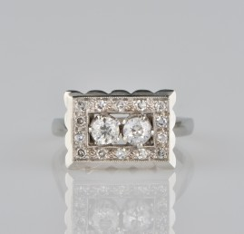 GORGEOUS LATE ART DECO .78 CT DIAMOND TWIN RING