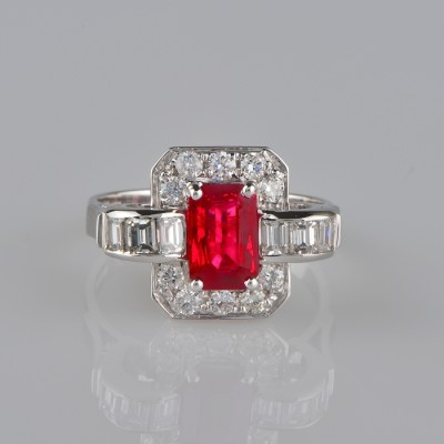 ART DECO INSPIRED 1.70 CT NATURAL RUBY & DIAMOND DISTINCTIVE VINTAGE RING!