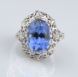 GENUINE EDWARDIAN 7.86 CT VERNEUIL SAPPHIRE & ROSE CUT DIA. RARE RING!