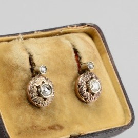 Victorian .50 Ct rose cut diamond earrings