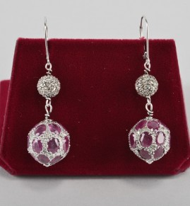 SPECTACULAR DECO 2.60 CT NAT. RUBY 1.60 OLD CUT DIAMOND BALL SWING EARS!