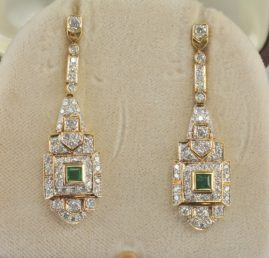 EXQUISITE ART DECO 1.80 CT DIAMOND .65 CT EMERALD LONG DROP EARRINGS!