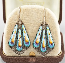 ANTIQUE CHINESE PRE 1920 EXOTIC PAINTED DROP EARRINGS – EXQUISITE!