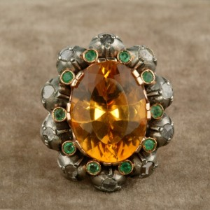 SPECTACULAR GEORGIAN REVIVAL CITRINE EMERALD & DIAMOND VINTAGE RING!