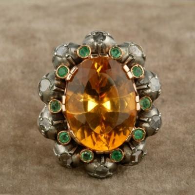SPECTACULAR GEORGIAN REVIVAL CITRINE EMERALD & DIAMOND VINTAGE RING!