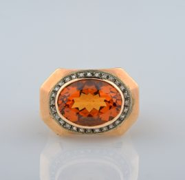 MAGNIFICENT BRAZIL MADEIRA CITRINE & DIAMOND 1940 RETRO JUMBO SIZED RING WOW!