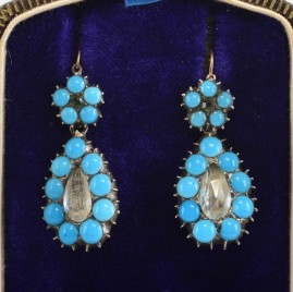 GENUINE GEORGIAN RARE NIGHT & DAY OPAL & DIAMOND PASTE STONE EARRINGS!