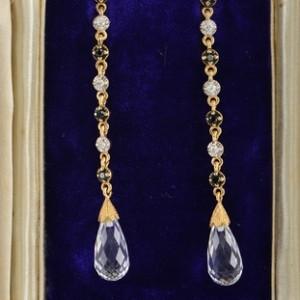 SPECTACULAR VINTAGE ROCK CRYSTAL BLACK & WHITE DIAMONDS LONG DROP EARRINGS!