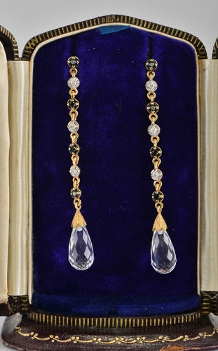 SPECTACULAR VINTAGE ROCK CRYSTAL BLACK & WHITE DIAMONDS LONG DROP EARRINGS!