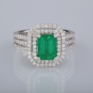 NATURAL 1.45 CT NATURAL COLOMBIAN EMERALD 1.90 CT DIAMOND FINE RING!
