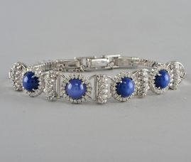 MAGNIFICENT ART DECO 8.0 CT NATURAL STAR SAPPHIRE 1.40 CT DIAMOND BRACELET!