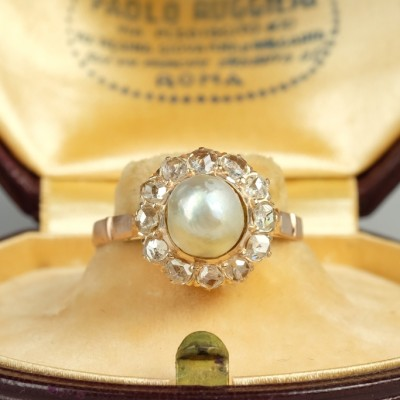 SPECTACULAR VICTORIAN NATURAL BASRA PEARL & DIAMOND ANTIQUE RING- WOW!