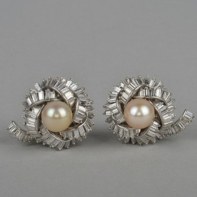 SPECTACULAR VINTAGE 7.0 CT DIAMONDS & PEARL SOLID PLATINUM EARRINGS!