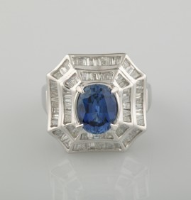 SHEER LUXURY 2.80 CT. NATURAL SAPPHIRE & 2.15 CT DIAMOND IMPOSING VINTAGE RING!