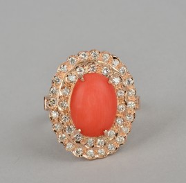 Have one to sell? Sell now       Details about  VINTAGE NATURAL SALMON RED CORAL and 1.30 DIAMOND RING ROSE GOLD!