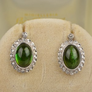 CHARMING NATURAL GREEN TOURMALINE & DIAMOND VINTAGE EARRINGS 1950 CA!