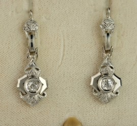 GORGEOUS GENUINE ART DECO .60 CT DIAMOND RARE DROP EARRINGS!