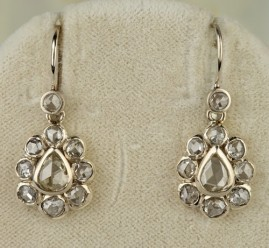 SPECTACULAR VICTORIAN 3.10 CT EXCELLENT DUTCH ROSE CUT DIAMOND DROP EARRINGS!