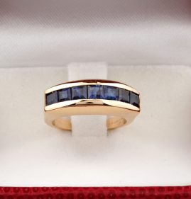 HALLMARKED CARTIER PARIS SAPPHIRE AND DIAMOND VINTAGE RING