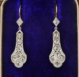 GENUINE EDWARDIAN 2.0 FULL CARAT DIAMOND EXCLUSIVE DIAMOND DROP EARRINGS!