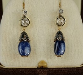 SPECTACULAR GENUINE VICTORIAN 8.0 CT NATURAL SAPPHIRE & DIAMOND DROP EARRRINGS!