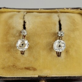 SPECTACULAR GENUINE VICTORIAN 1.90 CT OLD CUSHION SOLITAIRE DIAMOND EARRINGS!