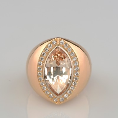 SPECTACULAR 6.0 CT NATURAL IMPERIAL TOPAZ & DIAMOND ONE OFF VINTAGE RING!