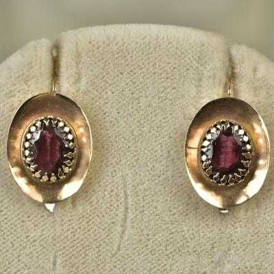 GENUINE VICTORIAN MOST GORGEOUS GARNET DROP EARRINGS 1880!