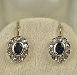 SUPERB NATURAL SAPPHIRE & ROSE CUT DIAMOND VINTAGE EARRINGS!