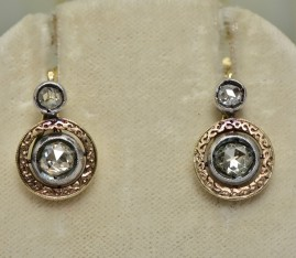 SPECTACULAR GENUINE VICTORIAN 1.80 CT DIAMOND RARE TARGET EARRINGS 1870!
