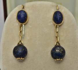 GENUINE VICTORIAN RUSSIAN LAPIS & DIAMOND MAGNIFICENT DROP EARRINGS 1880!