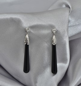 GORGEOUS LATE ART DECO DIAMOND & ONYX LONG DROP EARRINGS!